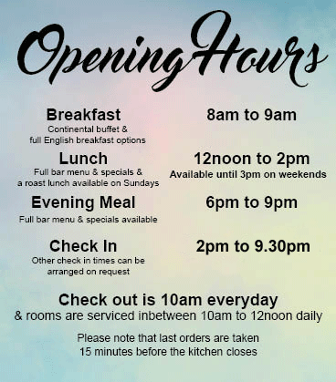 Opening Check in Meal times